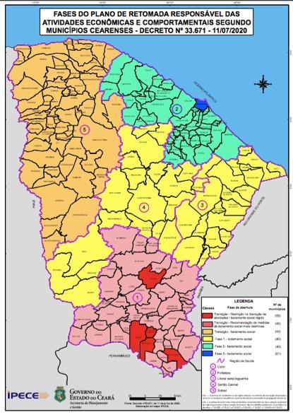 Ipece atualiza mapa com a classificação dos municípios em relação as fases do plano de retomada da economia